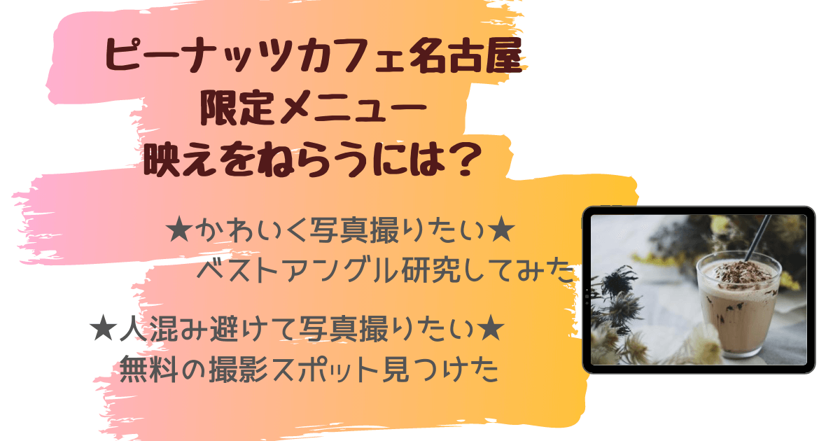 ピーナッツカフェ名古屋 久屋大通パーク 名古屋限定メニュー インスタ 撮影方法