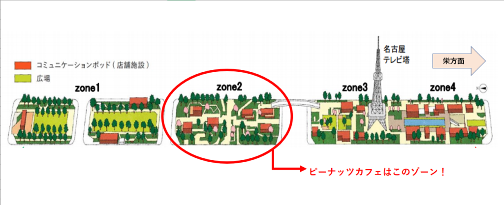 久屋大通パーク 地図 ゾーン2 ピーナッツカフェ 名古屋
